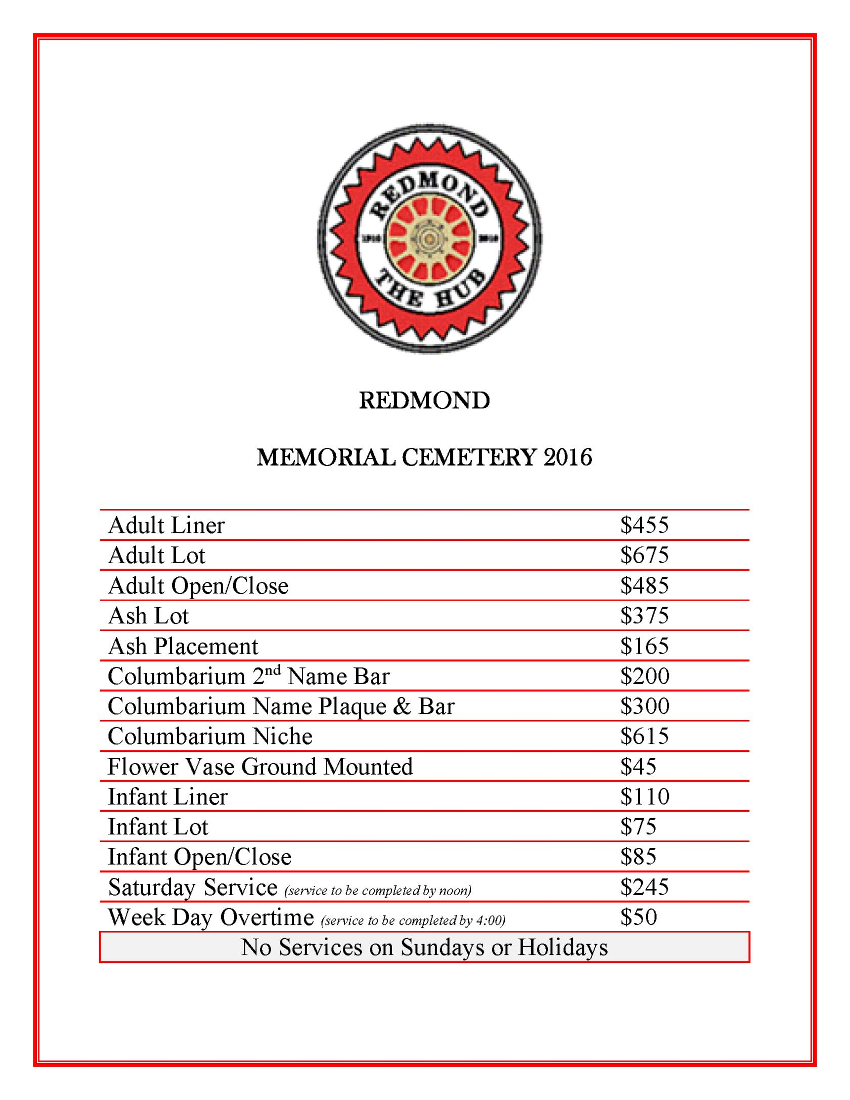 Cemetery Fee Schedule 2016