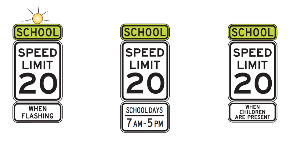 School Zone Speed Limit Signs