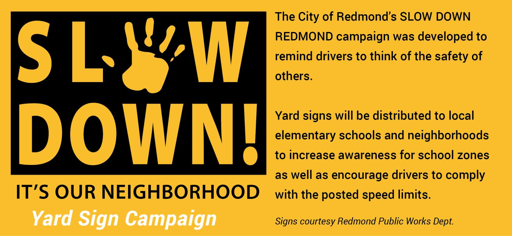Slow Down Redmond sign web banner 2