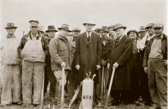 Volunteers from the American Legion and Redmond Commercial Club cleared land for what later would become Redmond's commercial airport.