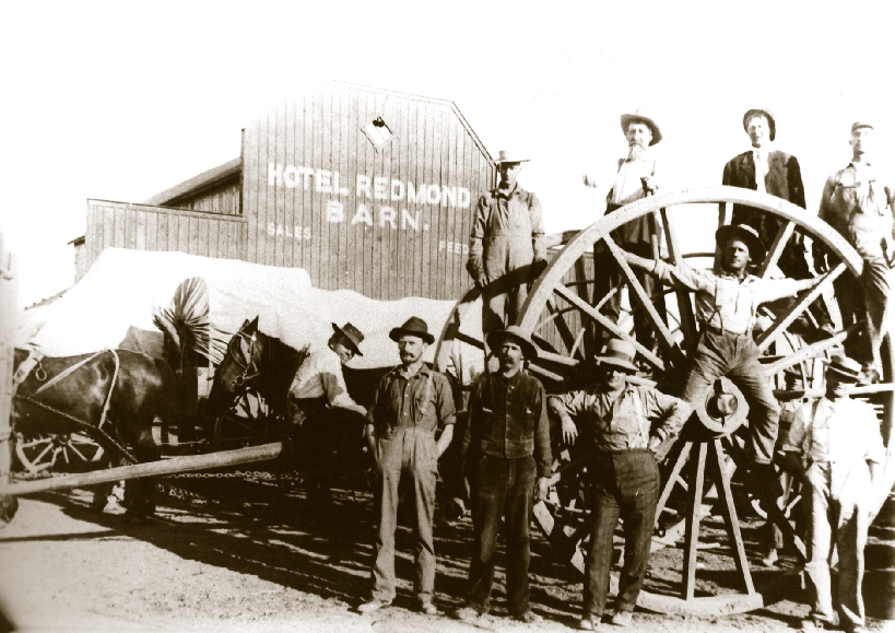 Before the railroad, horses and mules brought huge loads of cargo to Redmond.