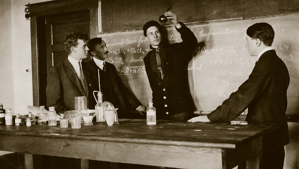 A chemistry class experiment at Redmond Union High School.