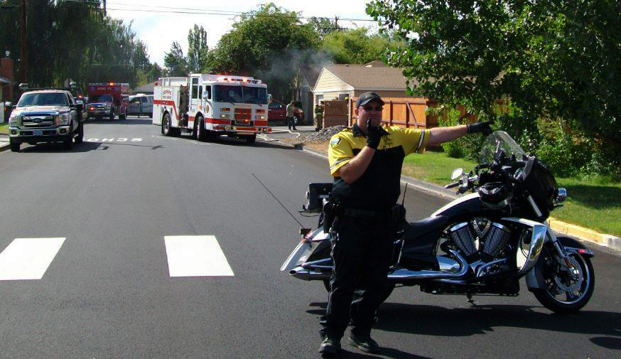 Motorcycle unit at accident scene