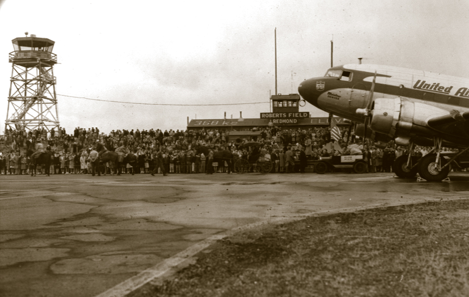 1946 marked Redmond's 1st commercial flight from Roberts Field Municipal Airport.
