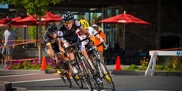 Cyclist Racing in Downtown Redmond